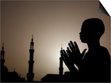 Sudanese Muslim Boy Prays in Front of a Mosque in Sudan Poster
