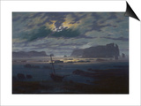 Moonlit Seascape Posters by Caspar David Friedrich