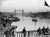 Pedestrians on London Bridge Watch Boats and Barges Being Unloaded Print