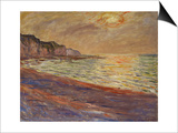 Beach at Pourville, Sunset, 1882 Art by Claude Monet