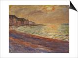 Beach at Pourville, Sunset, 1882 Art by Claude Monet