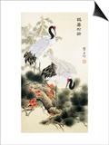 Cranes and Pine Tree Print by Fangyu Meng