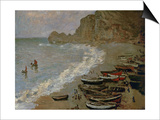 Etretat: The Beach and Harbour of Amont, 1883 Posters by Claude Monet
