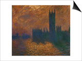 The Parliament in London, Stormy Sky Prints by Claude Monet