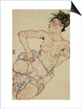 Kneeling Female Semi-Nude, 1917 Prints by Egon Schiele