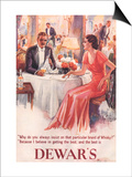 Dewar's, Whiskey Alcohol Dinners, UK, 1930 Poster