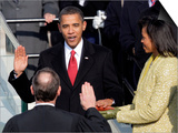 Barack Obama Sworn in by Chief Justice Roberts as 44th President of the United States of America Prints