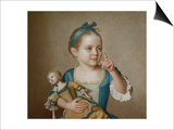 Girl with Doll Art by Jean-Etienne Liotard