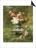 Vase Mit Pfingstrosen in Einem Garten Prints by Louis Marie Lemaire