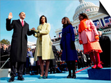 President Barack Obama Takes the Oath of Office with Wife Michelle and Daughters, Sasha and Malia Posters