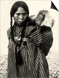Woman from an American Indian Tribe with a Baby Resting in a Basket on Her Back Art