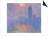 London Parliament in the Fog, c.1904 Poster by Claude Monet