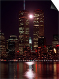 A Full Moon Rises Between New York's Twin Towers for the Second Time This Month Print