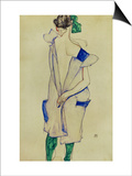 Standing Girl in Blue Dress and Green Stockings, 1913 Posters by Egon Schiele