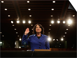 Supreme Court Nominee Sonia Sotomayor is Sworn in on Capitol Hill in Washington Print
