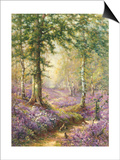 The Bluebell Wood Print by Alfred Fontville de Breanski