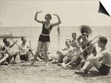 A Young Woman, Surrounded by Musicians, Dances on a Beach of the Lido of Venice Prints
