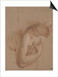 Une demi-figure de femme nue, tournée à droite, une main sur la droite Poster by Antoine Coypel