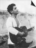 Portrait of a Young Sicilian Man Playing the Guitar Print