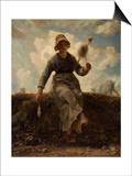 La Fileuse, chevri auvergnate Prints by Jean-François Millet
