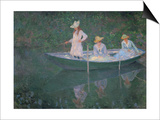 The Boat at Giverny (Or) the Norwegians, the Three Daughters of Mme. Hoschede Art by Claude Monet