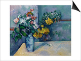 Still Life: Flowers in a Vase Poster by Paul Cézanne