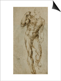 Nude Male Figure Seen Frontally, circa 1502-1506 Posters by  Michelangelo Buonarroti