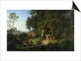 Brautzug in Einer Fruehlingslandschaft, 1847 Art by Ludwig Richter