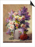 Still Life of Roses and Lilacs Art by Georges Jeannin