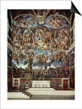 Sistine Chapel with the Retable of the Last Judgement (Fall of the Damned) Art by  Michelangelo Buonarroti