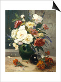 Still Life of Peonies and Wallflowers Prints by Eugene Henri Cauchois