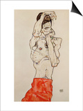 Standing Male Nude with Red Loincloth, 1914 Posters by Egon Schiele