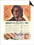 Nestle's, Propaganda Chocolate Sweets WWII Chocolate Is a Fighting Food, USA, 1940 Prints