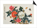 Peonies and Butterflies Posters by Lu Bisa