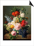 Still Life with Flowers and Fruit, 1827 Poster by Jan Frans van Dael