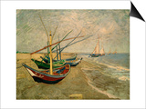 Fishing Boats on the Beach at Saintes-Marie-de-la-Mer, around June 5, 1888 Art by Vincent van Gogh