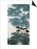 Twin Horses in Bamboo Forest Posters by Wanqi Zhang
