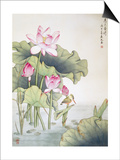 Lotuses and Bird Poster by Fangyu Meng