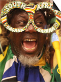 Fan Celebrates in Durban, South Africa During 100-Day Count Down Celebrations to the Fifa World Cup Posters