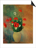 Vase with Red Poppies Prints by Odilon Redon