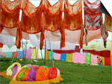 Clothes Hang on a Line to Dry after Being Washed on the Banks of the River Gomti Prints