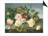 Still Life of Roses and Morning Glory Poster by Eloise Harriet Stannard