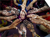 Pakistani Girls Show Their Hands Painted with Henna Ahead of the Muslim Festival of Eid-Al-Fitr Art by Khalid Tanveer