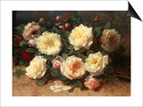 Pink and Yellow Roses Prints by Jean Baptiste Claude Robie