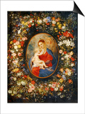 Virgin and Child with Angels Amonst a Garland of Flowers, Medaillon Rubens Prints by Jan Brueghel the Elder