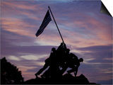US Marine Corps Memorial is Silhouetted Against the Early Morning Sky in Arlington, Virginia Prints