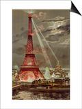 Embrasement de la Tour Eiffel pendant l'Exposition Universelle de 1889 Poster by Georges Garen