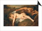 Nymph and Satyr Print by Jean Antoine Watteau