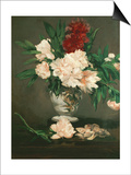 Vase with Peonies on a Pedestal, 1864 Posters by Édouard Manet