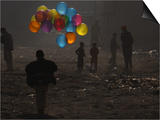 Afghan Boy Runs with Balloons to Join His Friends in Dusty Alley in Kabul, Afghanistan Prints